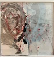 Horizon Bleu IV, 2019, Tusche auf Papier und Glas, 40 x 40 x 3 cm