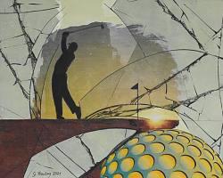 Golf, 2021, Collage auf Holz, 40 x 50