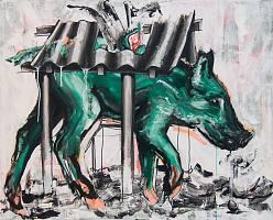 Das Schwein, 2021, Acryl auf Leinwand, 100 x 80 cm