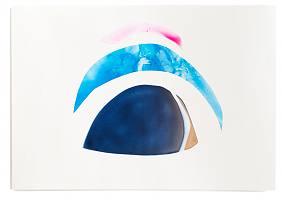 ohne Titel; 2020; Acryl, Sprühfarbe, Steinpapier auf Papier; 42 x 59,4cm